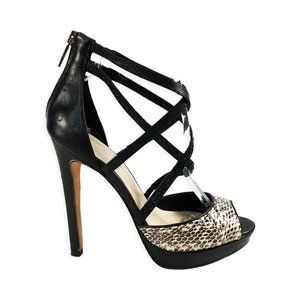 Joie Strappy Leather Platform Stiletto Heels